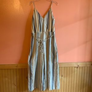 Cute linen striped wide leg crop jumpsuit